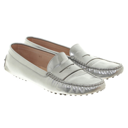 Tod's Silver-colored leather moccasins