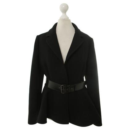 Miu Miu Zwarte jas met revers kraag