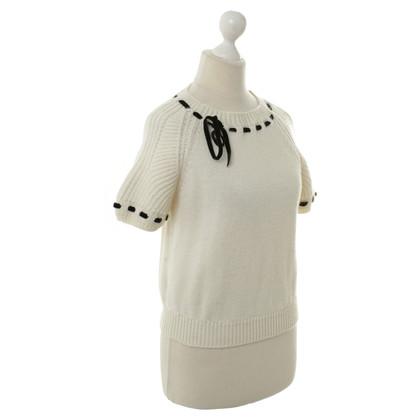 Miu Miu Short-sleeved sweaters in wool white