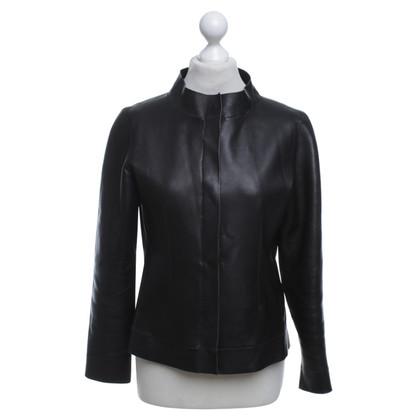 Strenesse Korte leren jas in zwart