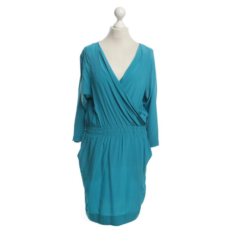 Robe soie turquoise