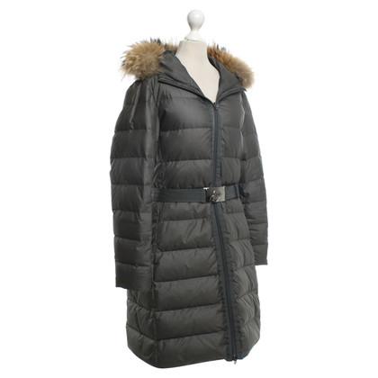 Moncler Gray coat with fur collar