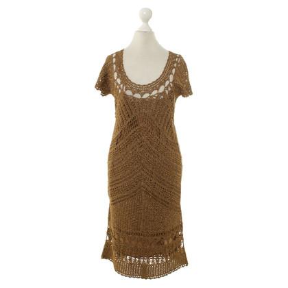 Diane von Furstenberg Gold-colored crochet dress