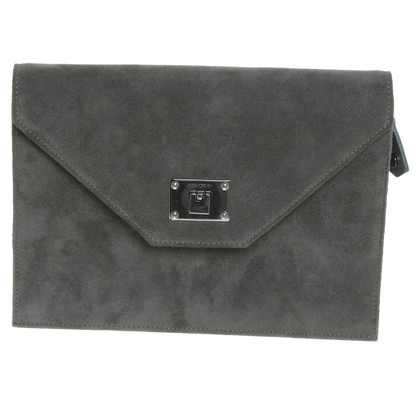 Jimmy Choo Wildleder-Clutch in Grau