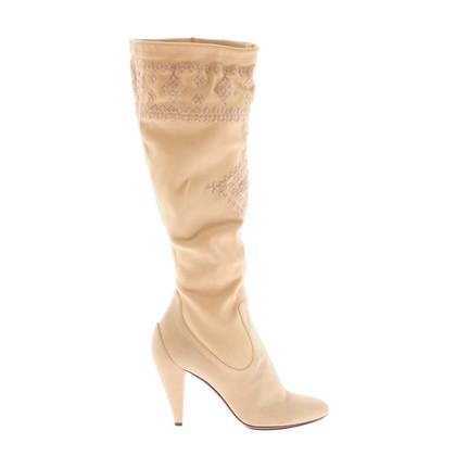 Ermanno Scervino Stivali in camoscio color crema