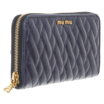 Miu Miu Blue Matelassé leather wallet
