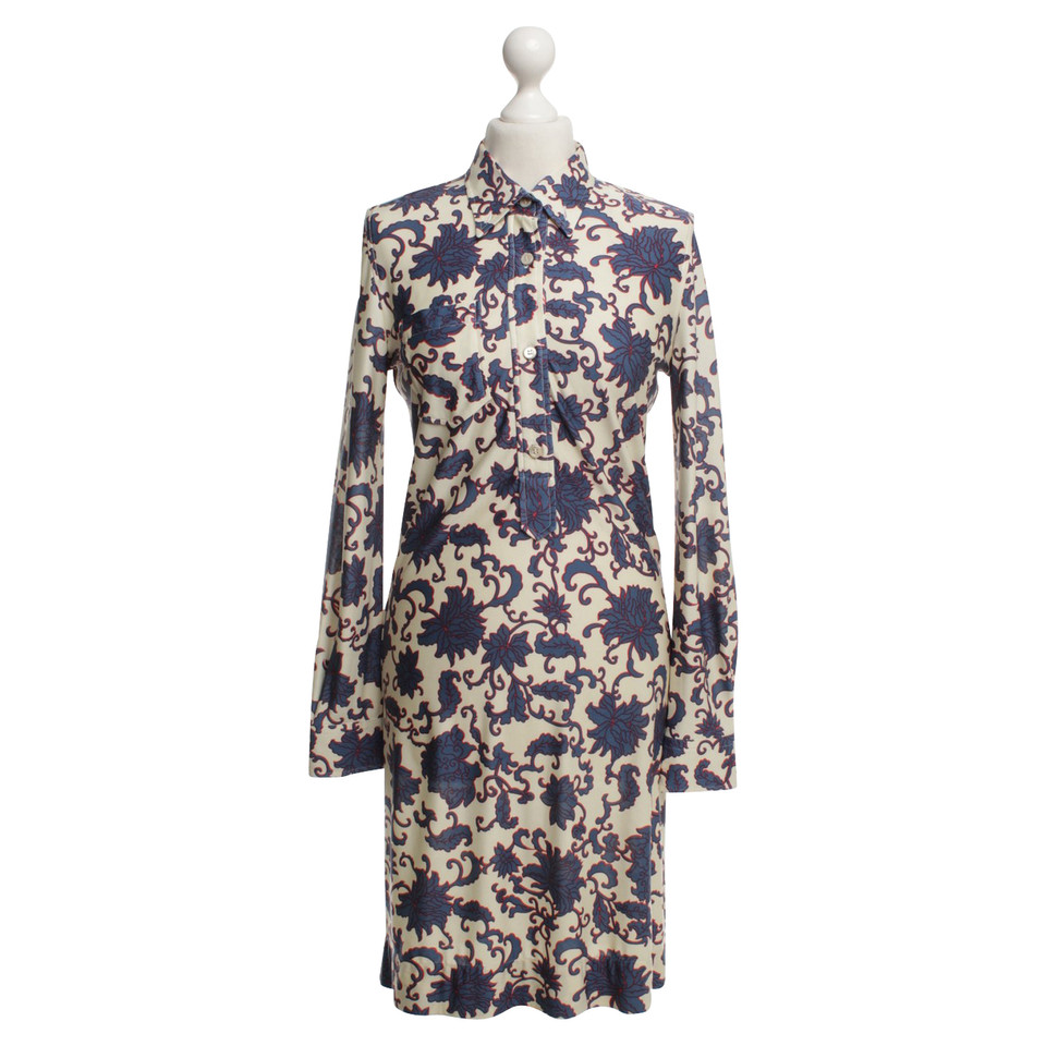 Isabel Marant Blouse dress with flower pattern in cream / blue