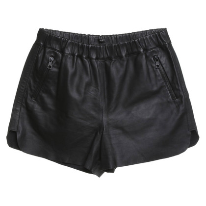 Set Lederen shorts in zwart