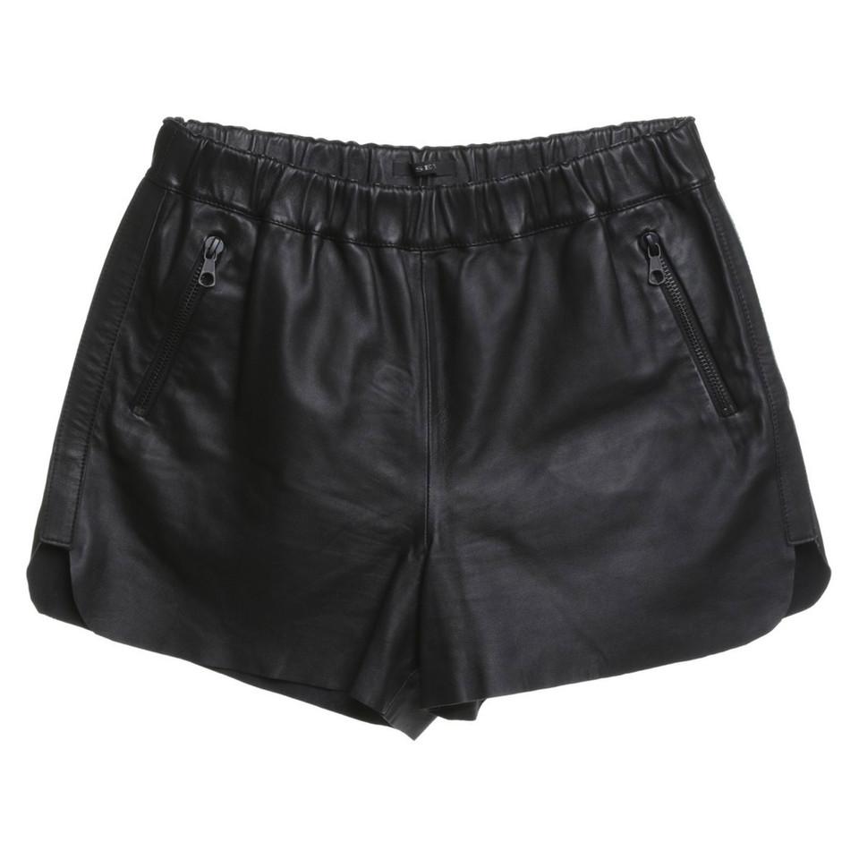 Set Leder-Shorts in Schwarz