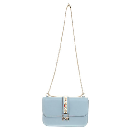 "Valentino ""Rockstud Lock Bag"" in light blue"