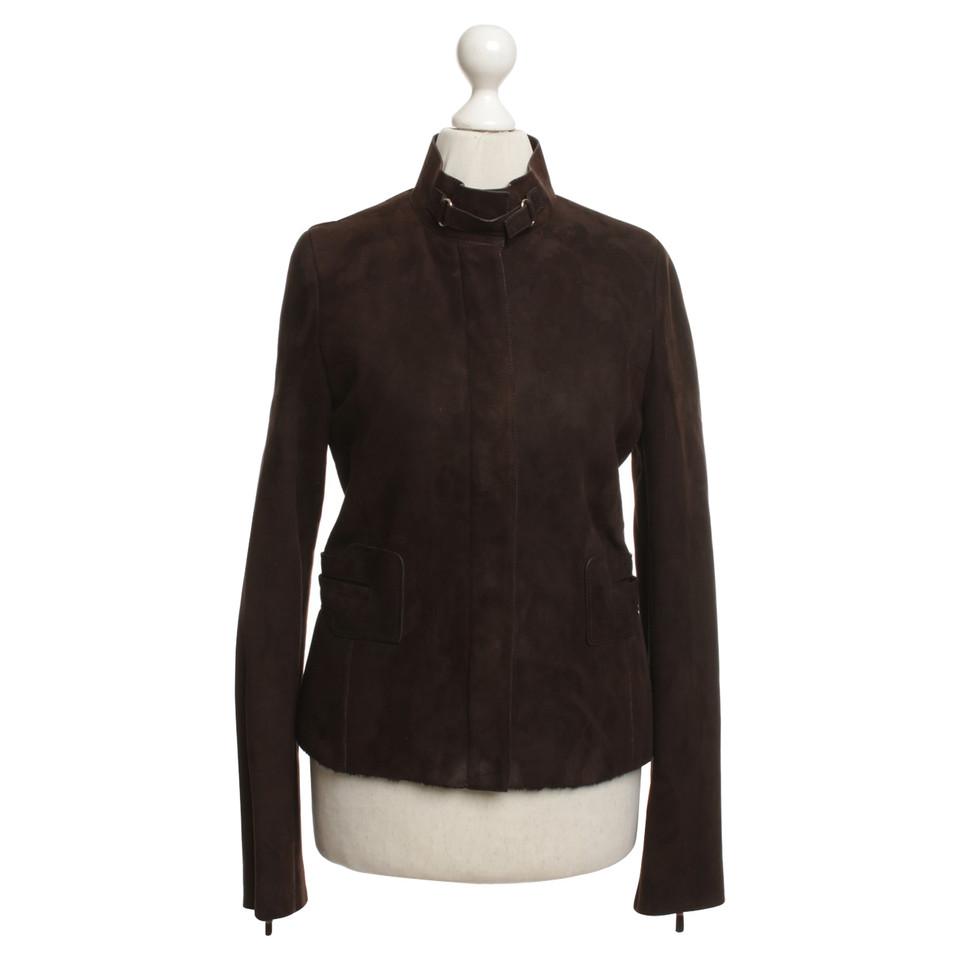 gucci veste en cuir marron acheter gucci veste en cuir. Black Bedroom Furniture Sets. Home Design Ideas