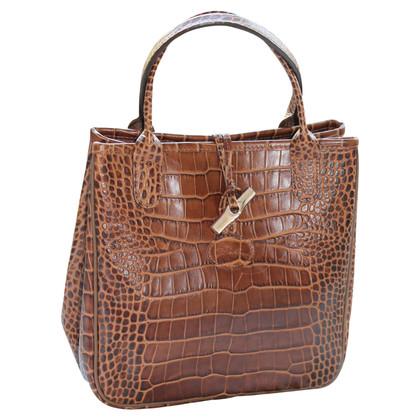 Longchamp Borsa a mano in look coccodrillo