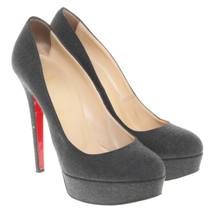 Christian Louboutin Denim Plateau-Pumps in Blau