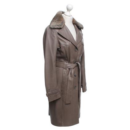 Oakwood giacca di pelle con collo in pelliccia staccabile