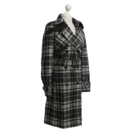 Dolce & Gabbana Wool trench coat in black / white
