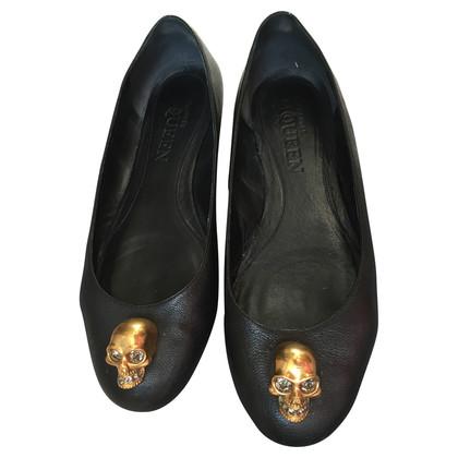 Alexander McQueen Black Ballet Flat Shoes