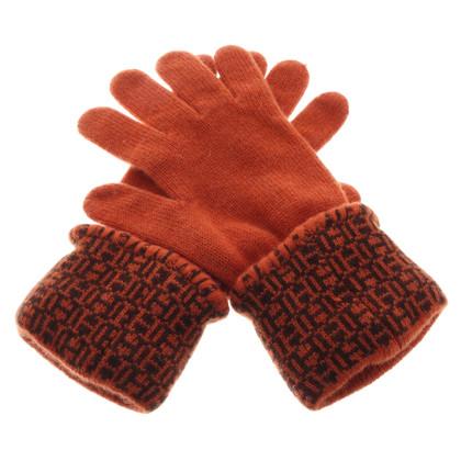Hermès Kasjmier handschoenen in oranje