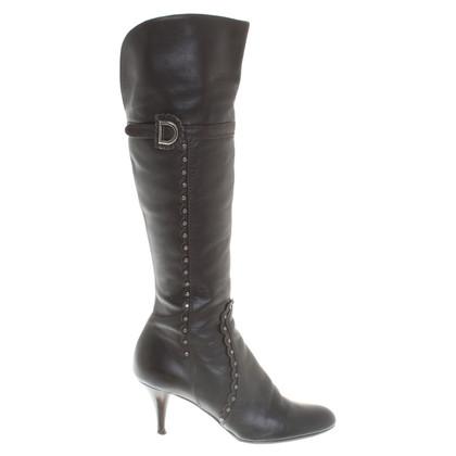 Christian Dior Leder-Stiefel in Dunkelbraum