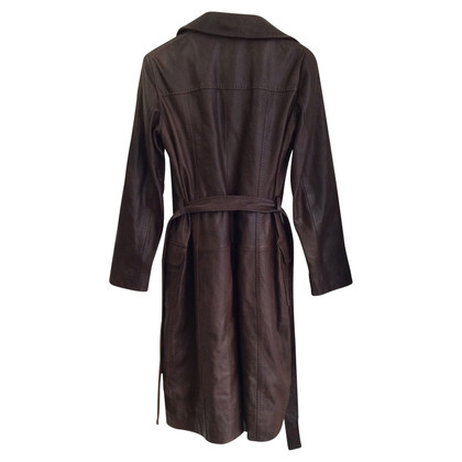 Philosophy di Alberta Ferretti Leather coat in dark brown