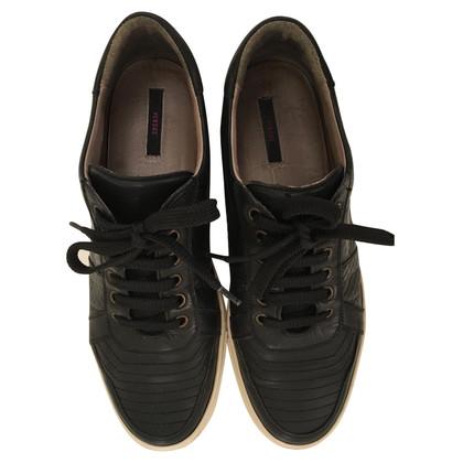 Versace Zwart lederen sneaker