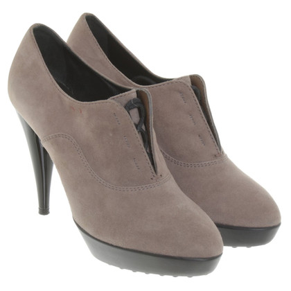 Tod's Taupe plateau ankle boots