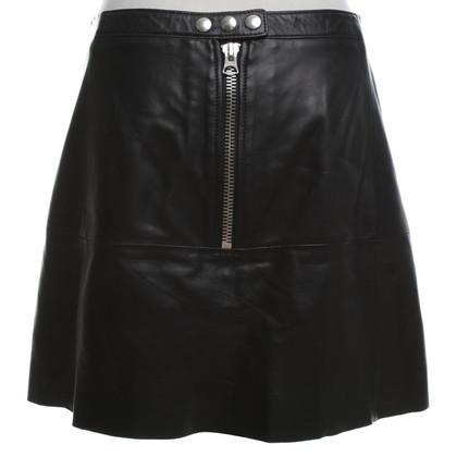Acne Lederen rok in zwart