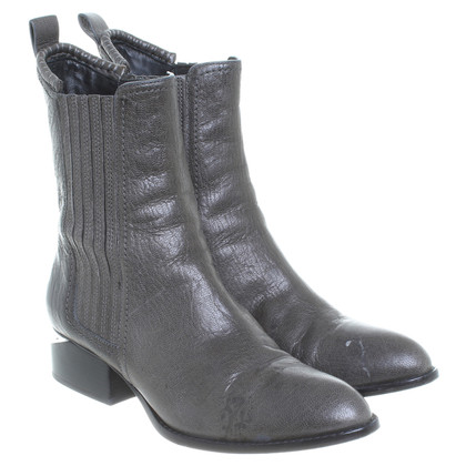 Alexander Wang Leather ankle boots in olive