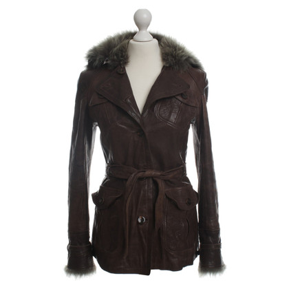 Karen Millen Leather jacket with faux fur trim