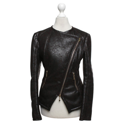 Elisabetta Franchi biker jacket in brown