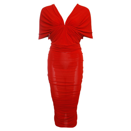 Lanvin red off shoulder wrinkled evening dress