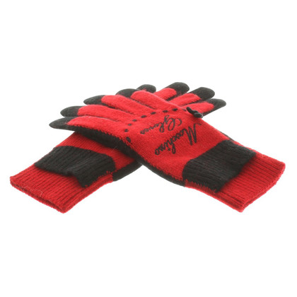 Moschino Fine knitting gloves with embroidery