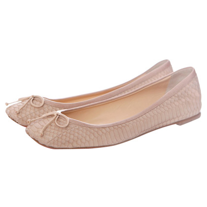 Christian Louboutin Nude coloured snakeskin ballerina