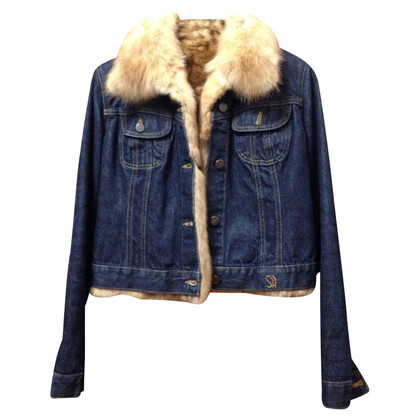 Simonetta Ravizza Denim jacket with inside and mink collar
