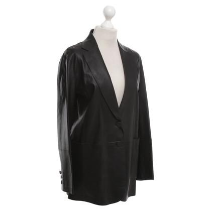 Armani Leather Blazer in Black
