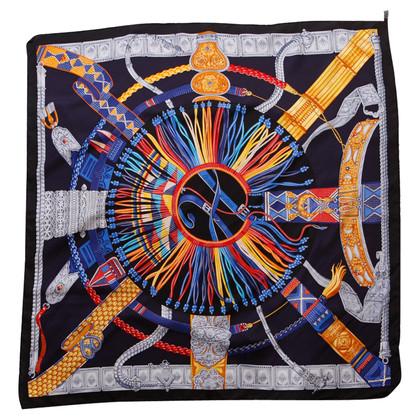 Hermès écharpe en soie avec impression colorée