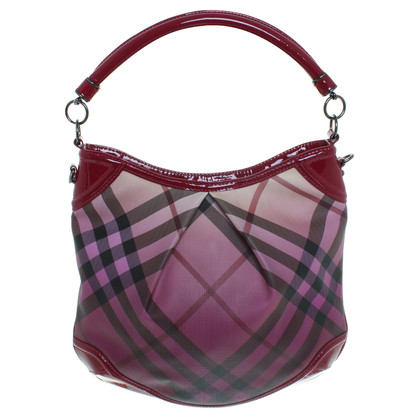 Burberry Bag in Bordeaux Nova check pattern with patent leather