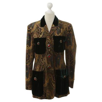 Moschino Blazer in velluto con reticolo di Paisley