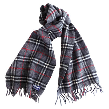 Burberry Checked wool scarf in grey