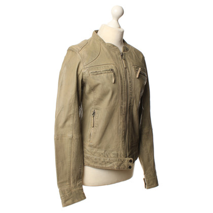 Oakwood Lederjacke in hellem Khaki