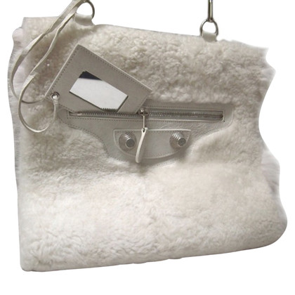 Balenciaga White Lamb Shoulder Bag