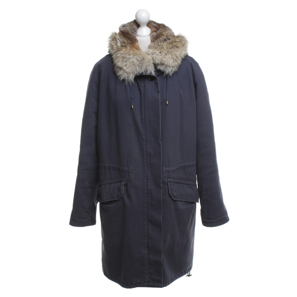 Yves Salomon Blue parka with fur lining