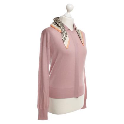 Prada cardigan rosa con panno di seta