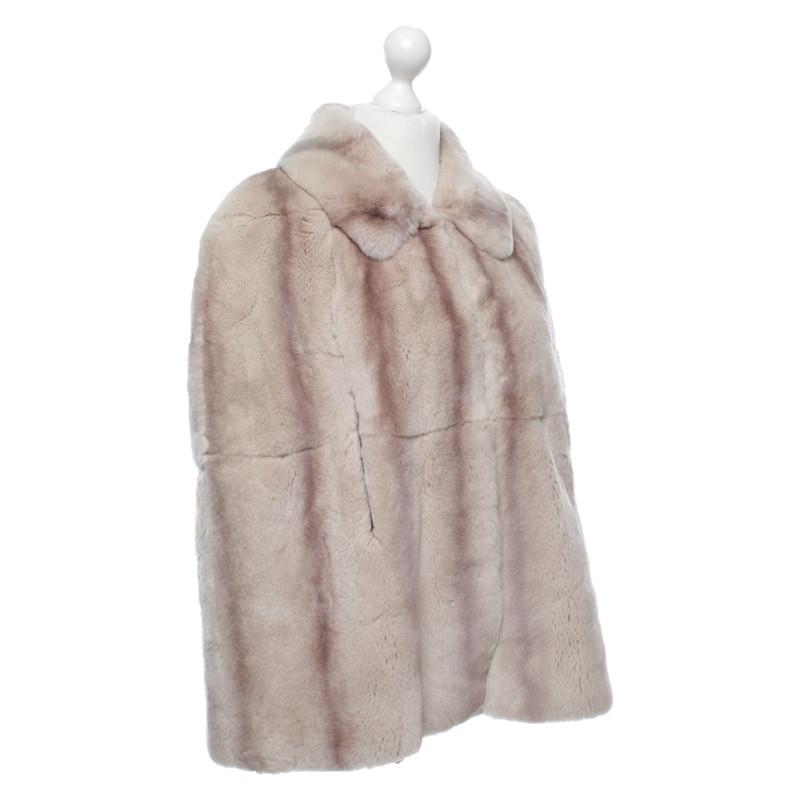 Mantel beige mit pelz