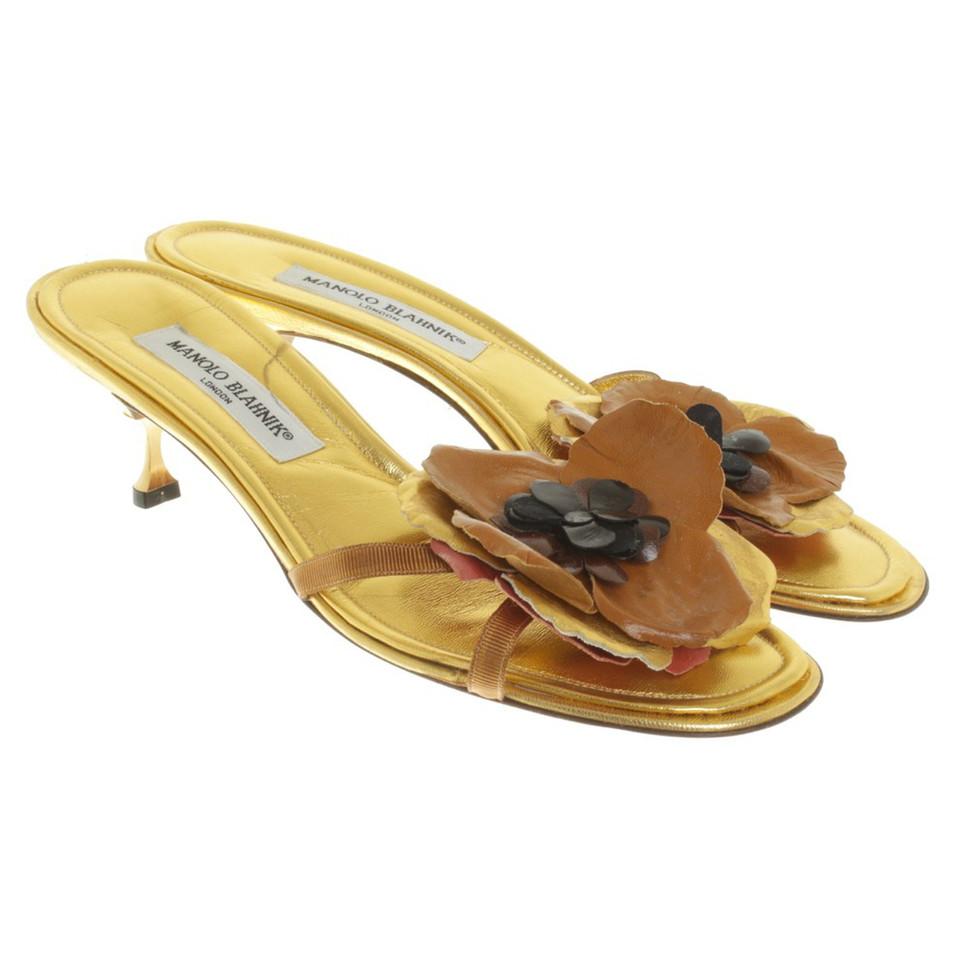 Manolo Blahnik Goudkleurige sandalen