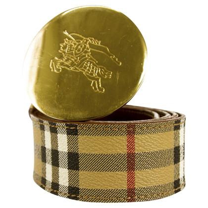 Burberry Cintura con fibbia tonda in tela check dorata