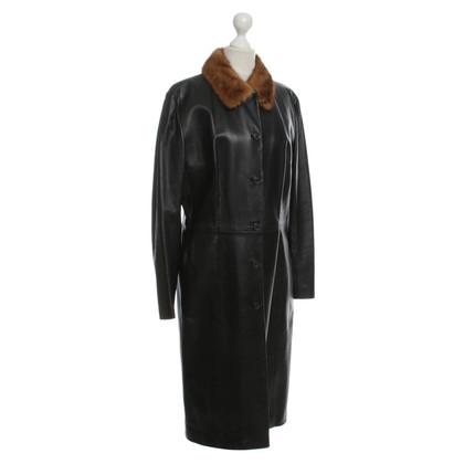 Dolce & Gabbana Cappotto di pelle nero