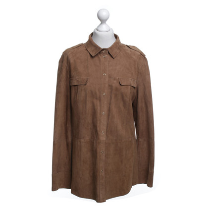 Basler Leather blouse in brown