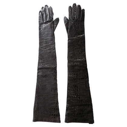 Yves Saint Laurent Leather gloves with reptile embossing