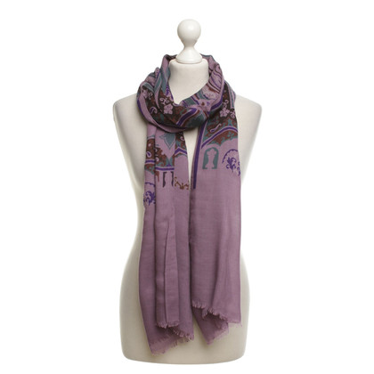 Etro Scarf in lilac with motif print