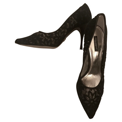 Dolce & Gabbana D&G black lace pumps